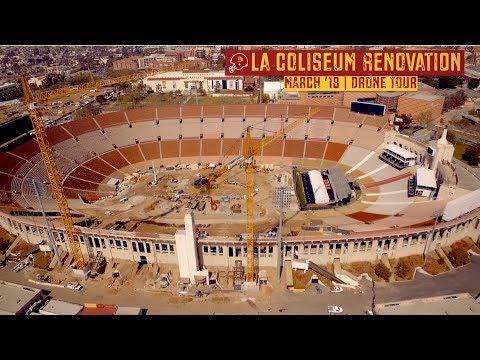 USC LA Rams Coliseum Renovation | March '18 Drone Tour