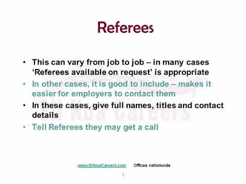 HOW TO Including Referees On Your CV
