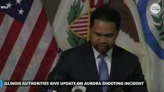 Authorities provide an update on a shooting incident in Aurora, Illinois that left multiple injur...