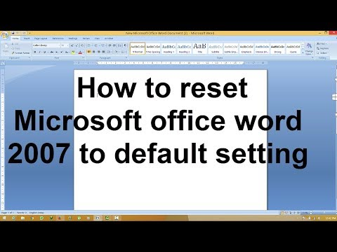 How Reset Microsoft Office Word 2007 To Default Setting