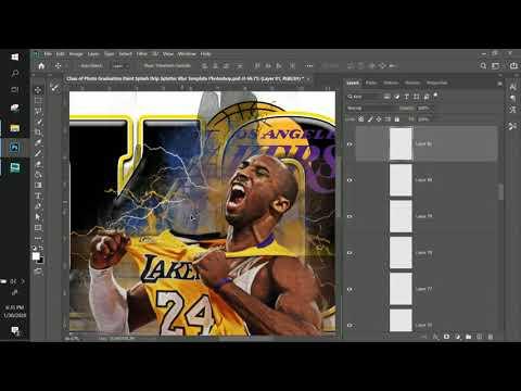 10 Minute Tees- NEW TEMPLATE- How To -Kobe Sports Edit- Graduation Photoshop  Paint Splash Drip Blur
