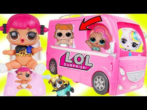 Custom LOL Surprise Dolls Play at Barbie Camper Mobile with Unicorn Lil Sisters + Customized DIY!