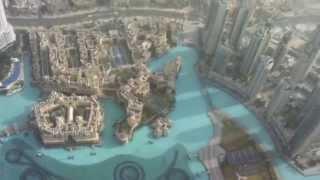 Blick von Aussichtsplattform Burj Khalifa über The Mall Dubai, Souk Al Bahar und Downtown Dubai