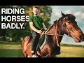 Riding a horse for the first time
