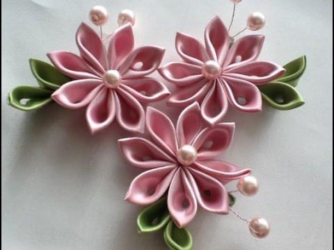Сделать цветы из атласных лент 18