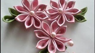 Как сделать из узкой атласной ленты красивый цветок.
