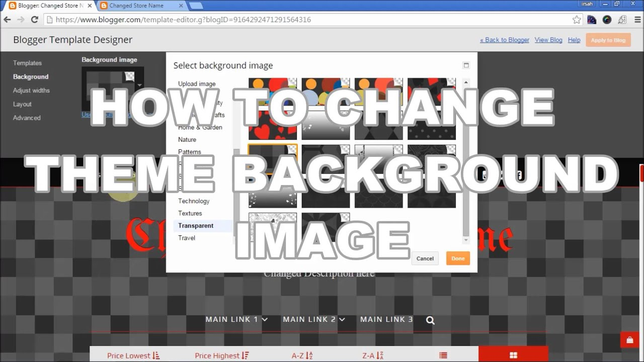How To Change Background Image for Blogger Template - BlogrCart TWO ...