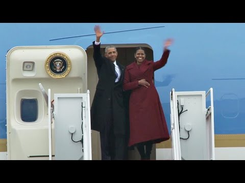 Obama's Last Ride On 'Marine One' And 'Air Force One'