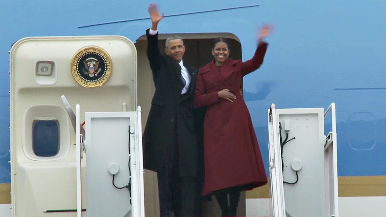 Image result for obama boarding air force one for last time
