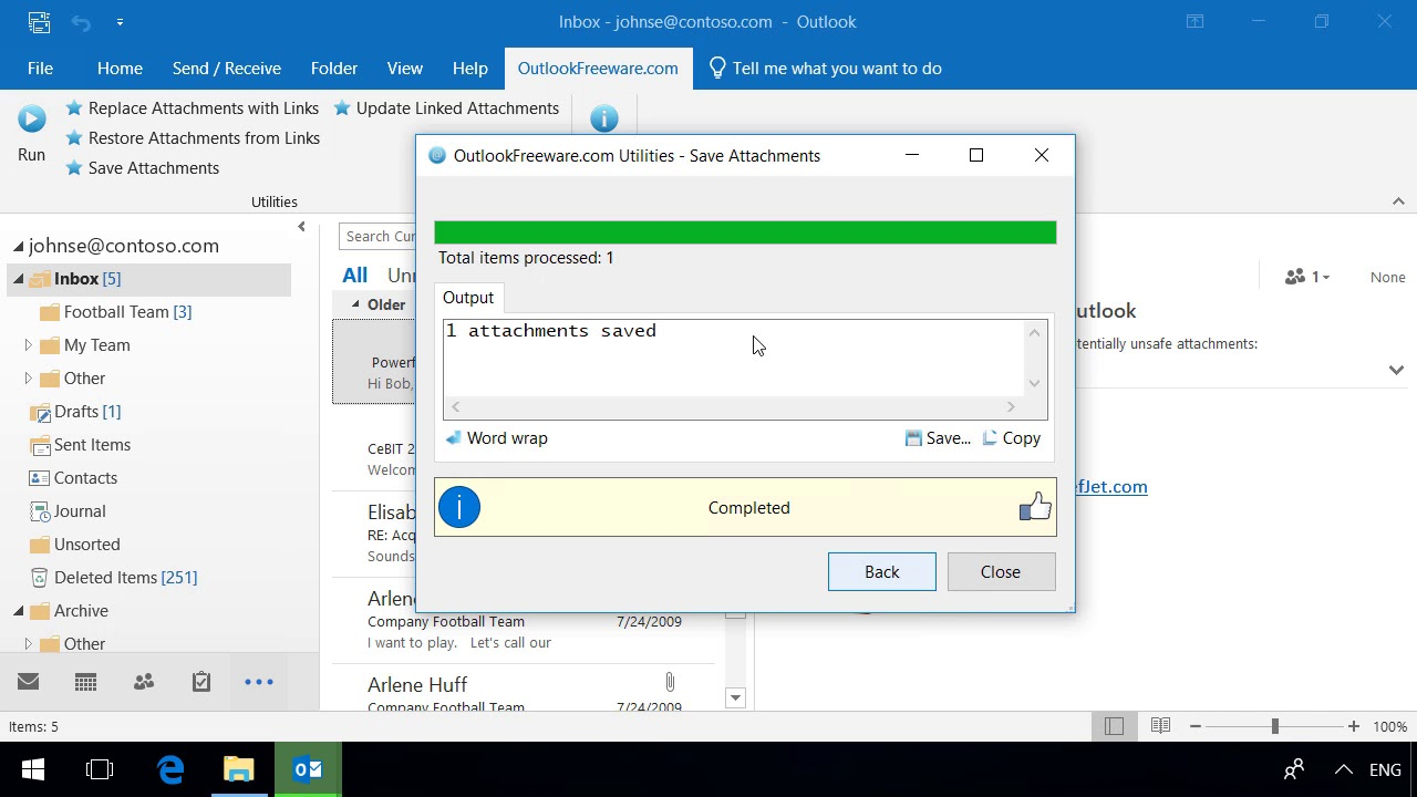 Save Attachments - Outlook Freeware