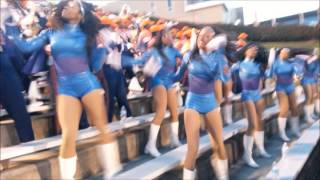 """Morgan State University Band jamming """"We Are the Bears"""" Oct 2015, also cheerleaders, Foxy Dancers"""