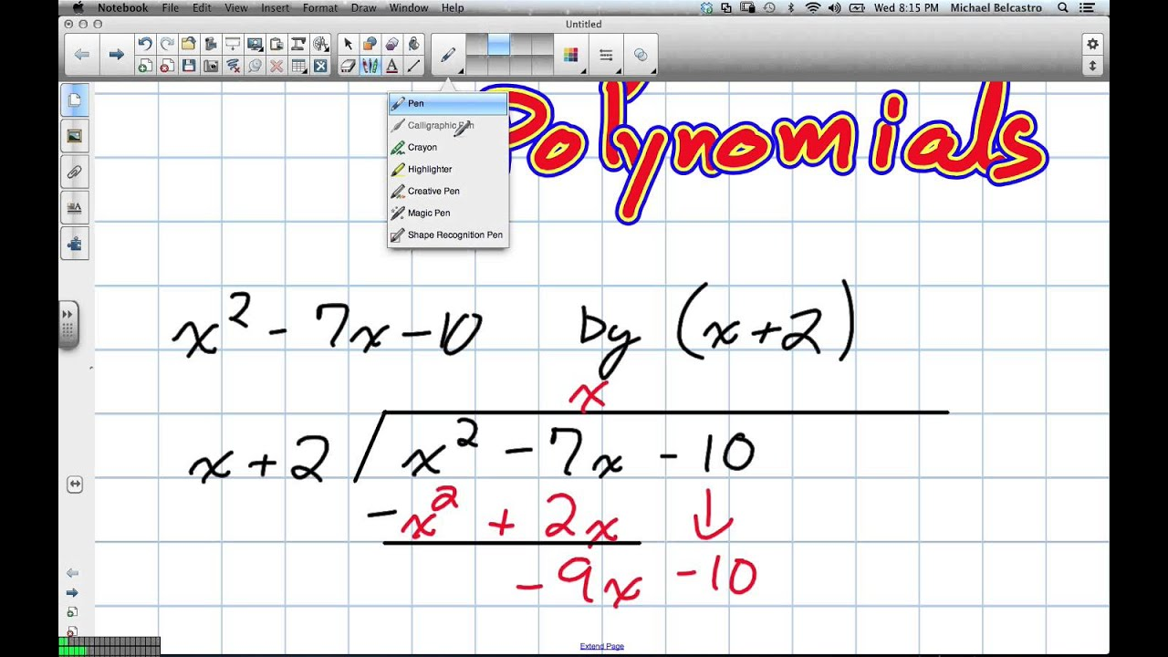 Long Division Of Polynomials Grade 12 Advanced Functions Lesson 3 5 10 17 12