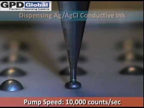 GPD Global: Dispense Silver (Conductive Ag/AgCl) Ink Dots with Volumetric Pump