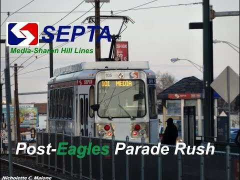 TVS-SEPTA Trolleys: Post-Eagles Parade Rush At Beverly Blvd Station