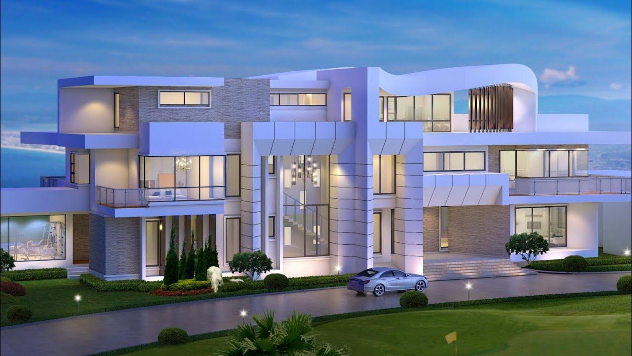 Проект дома в стиле хай тек. Дом с гаражом, бассейнами и террасами. Ремстройсервис V-1750