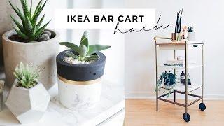 ikea bar cart hack marble and gold diy 35