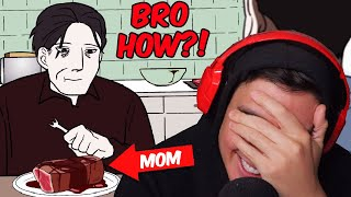 "His Mom Dissappeared & They Accidentally Ate Her For Dinner..(Reacting To ""True"" Scary Animations)"