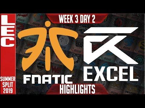 FNC vs XL Highlights | LEC Summer 2019 Week 3 Day 2 | Fnatic vs Excel Esports