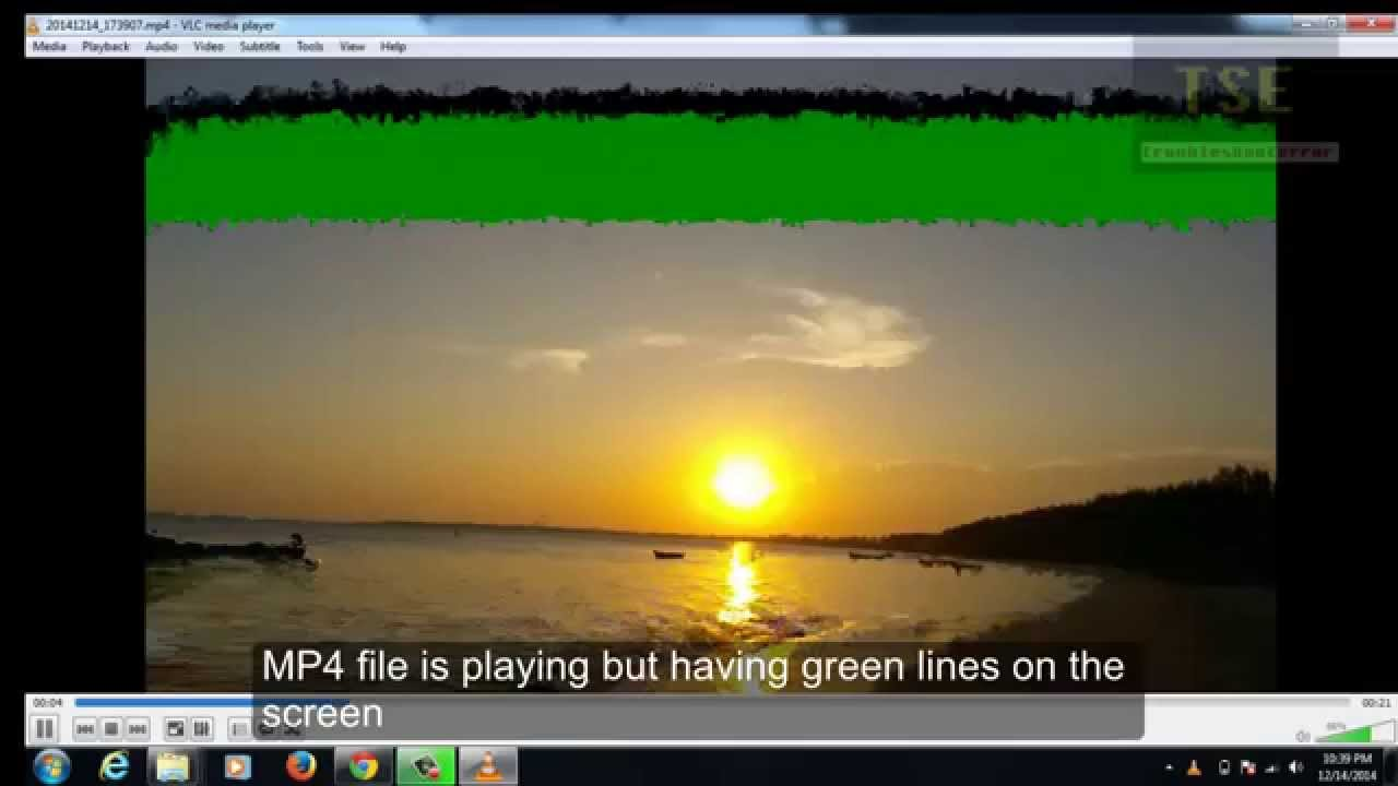 Green line on VLC Media Player Screen when playing MP4 Format UHD video  file 3840X2160