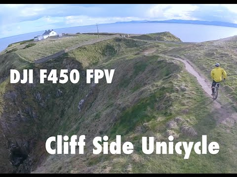 Random Unicycle Cliff Side - DJI F450 (and near miss with cables)