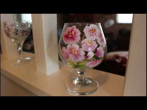One Stroke Painting – Cherry Blossoms – Flowers | Easy Painting Technique on a Wine Glass