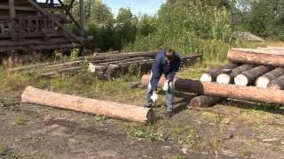 Техника перемещения бревен при строительстве.