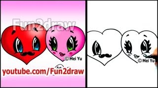 How to Draw a Heart - Hearts in LOVE  - Valentine Hearts