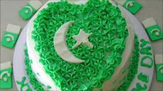 Pan Cake with Cream Frosting - Cake without Oven - Pakistan Independence Day