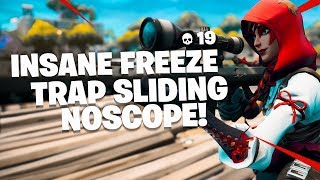 INSANE FREEZE TRAP SLIDING NOSCOPE! 19 KILL SOLO WIN (Fortnite: Battle Royale)