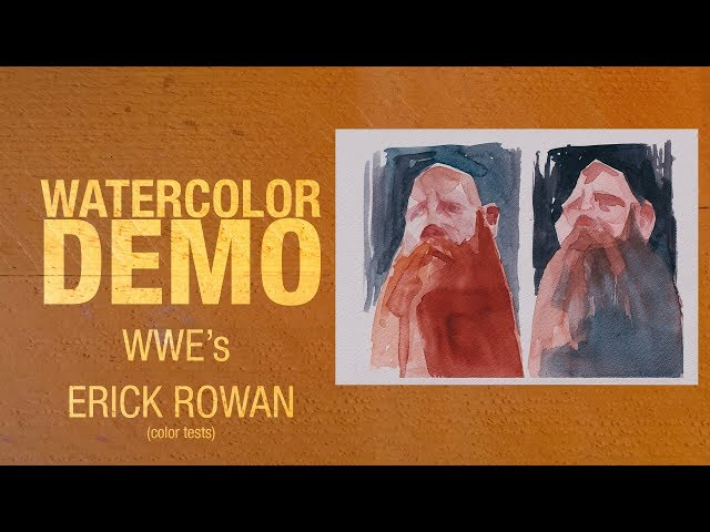 Watercolor portrait of Ercik Rowan color tests