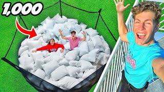 TRAMPOLINE FILLED WITH 1,000 PILLOWS!