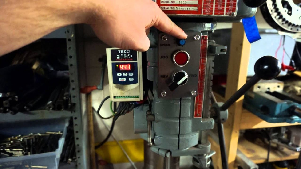 Vfd Drill Press On A More 220 3 Phase Wiring Diagram Http Wwwchaskicom Homemachinist Powermatic 1200 And Youtube