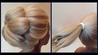 Простой вариант объемного пучка из резинок.Подробное видео.Light version of volumetric hairstyle.