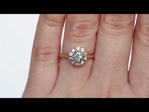 1890s Victorian 14k Yellow Gold .45ct Old European Cut & Antique Single Cut Diamond Engagement Ring