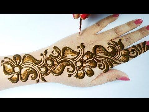 शेडेड अरेबिक मेहँदी डिज़ाइन लगाना सीखे - Easy Full hand Mehndi Design Backhand- Simple mehndi Design