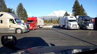 34 Hr Restart in progress. LIVE View of Mount Shasta and trucks at the truckstop in Weed, California