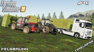 Baling, stacking, carting 133 hay bales | Animals on Felsbrunn | Farming Simulator 19 | Episode 41