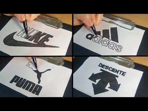 Brand Logos drawing art - NIKE, Adidas, PUMA, DESCENTE