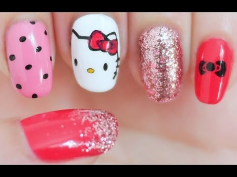 Hello kitty inspired nail tutorial konad stamping youtube prinsesfo Images