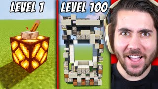 Minecraft Redstone HACKS from Level 1 to Level 100