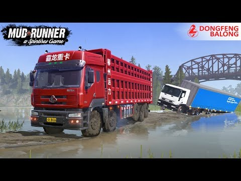 Spintires: MudRunner - DONGFENG BALONG 350 6X12 Pulls A Fallen Truck Into The Water