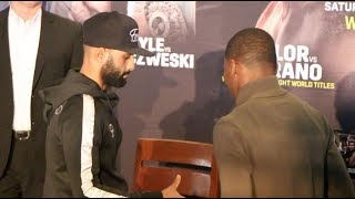 SNUBBED! - KID GALAHAD HAND-SHAKE BLANKED BY TOKA KAHN CLARY AT PRESS CONFERENCE