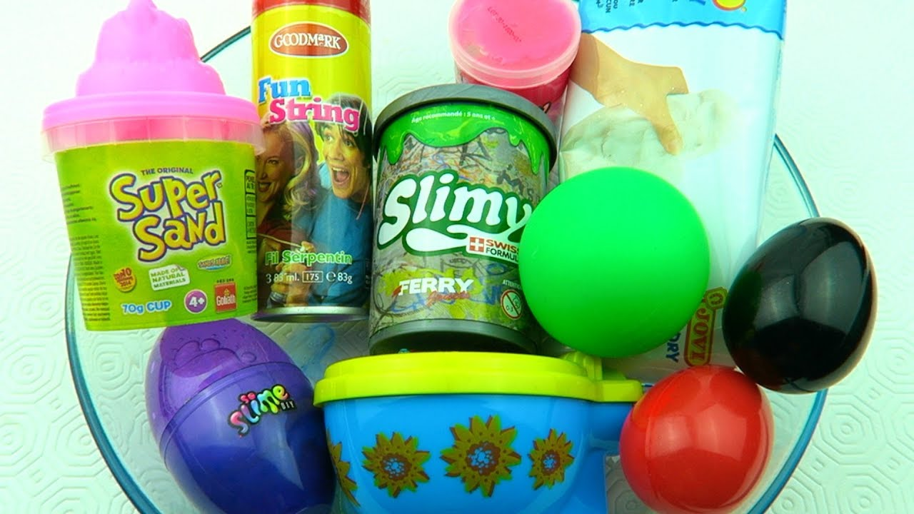 Mixing Store Bought Slime with Super Sand Stress Ball and Clay !
