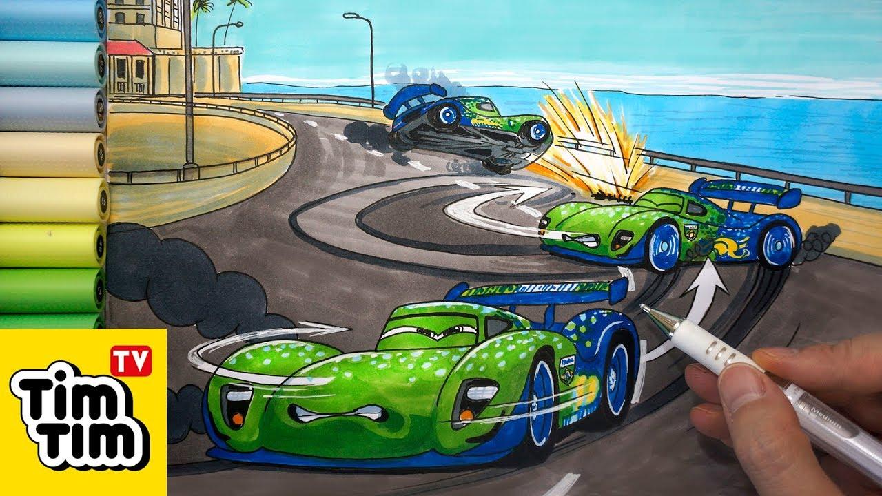 How To Draw Carla Veloso Crash At Porto Corsa 1 Cars 2