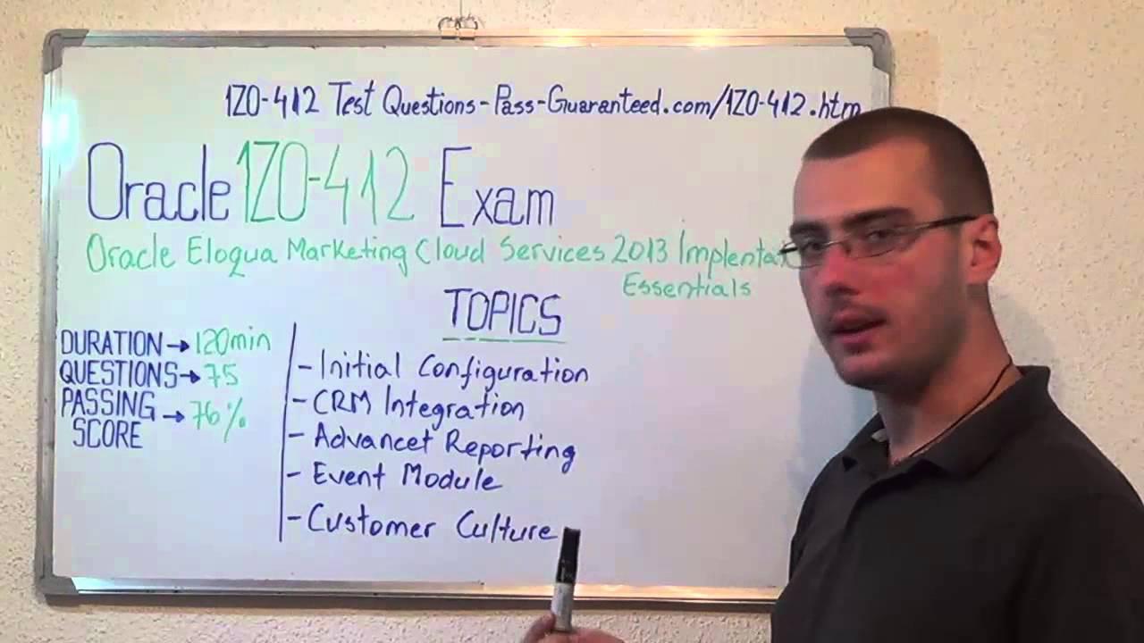 1z0 412 Oracle Exam Eloqua Marketing Test Implementation Questions