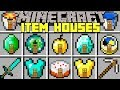 Minecraft ITEMS HOUSES MOD l SPAWN INSTANT STRUCTURES FROM ITEMS! l Modded Mini-Game