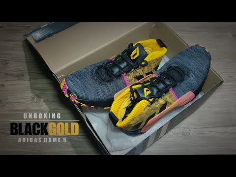UNBOXING Adidas Dame 5 Core Black / Active Gold + CLOSER LOOK #dame5 #unboxing #adidas