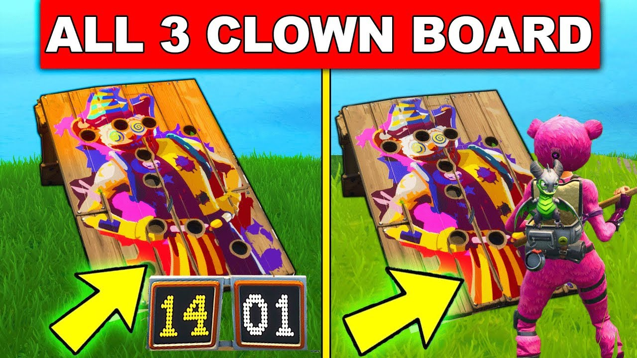 get a score of 10 or more on different carnival clown boards all 3 location week 9 fortnite - fortnite carnival boards