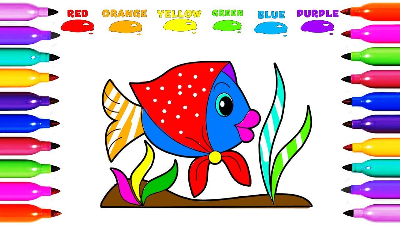 Draw Coloring COLORFUL FISH Learn colored for Kids Learning Coloring ...