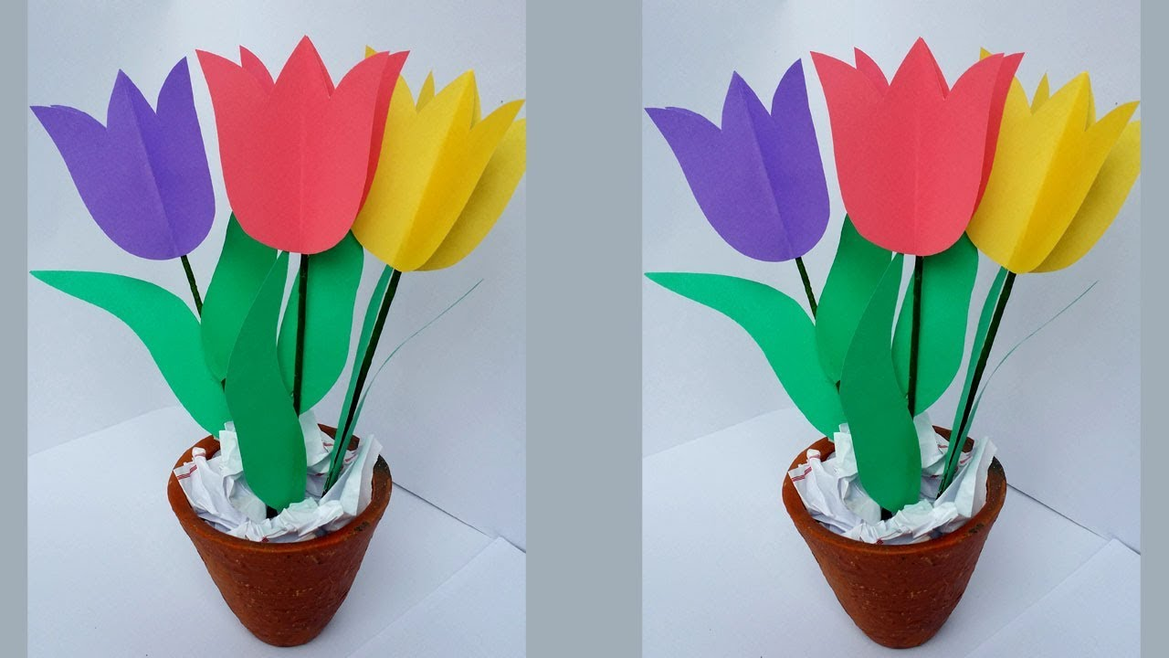 Diy How To Make Easy Beautiful Tulip Flower Bouquet Youtube